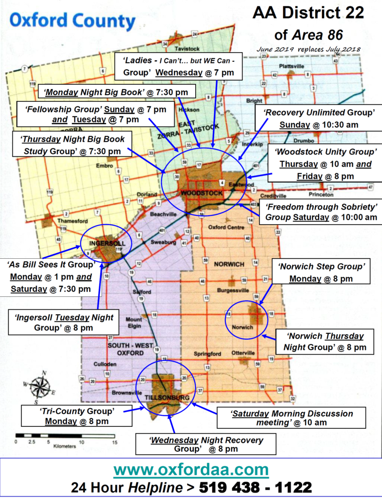 Map of meetings in Woodstock and surrounding areas