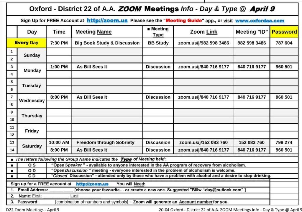 Local Zoom Meetings